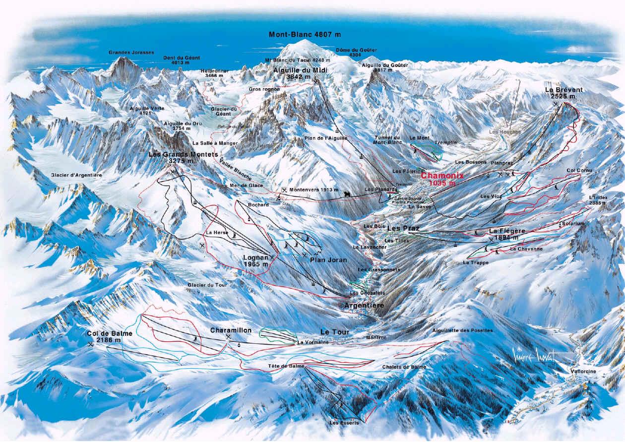 Карта склонов Шамони / Chamonix slopes map