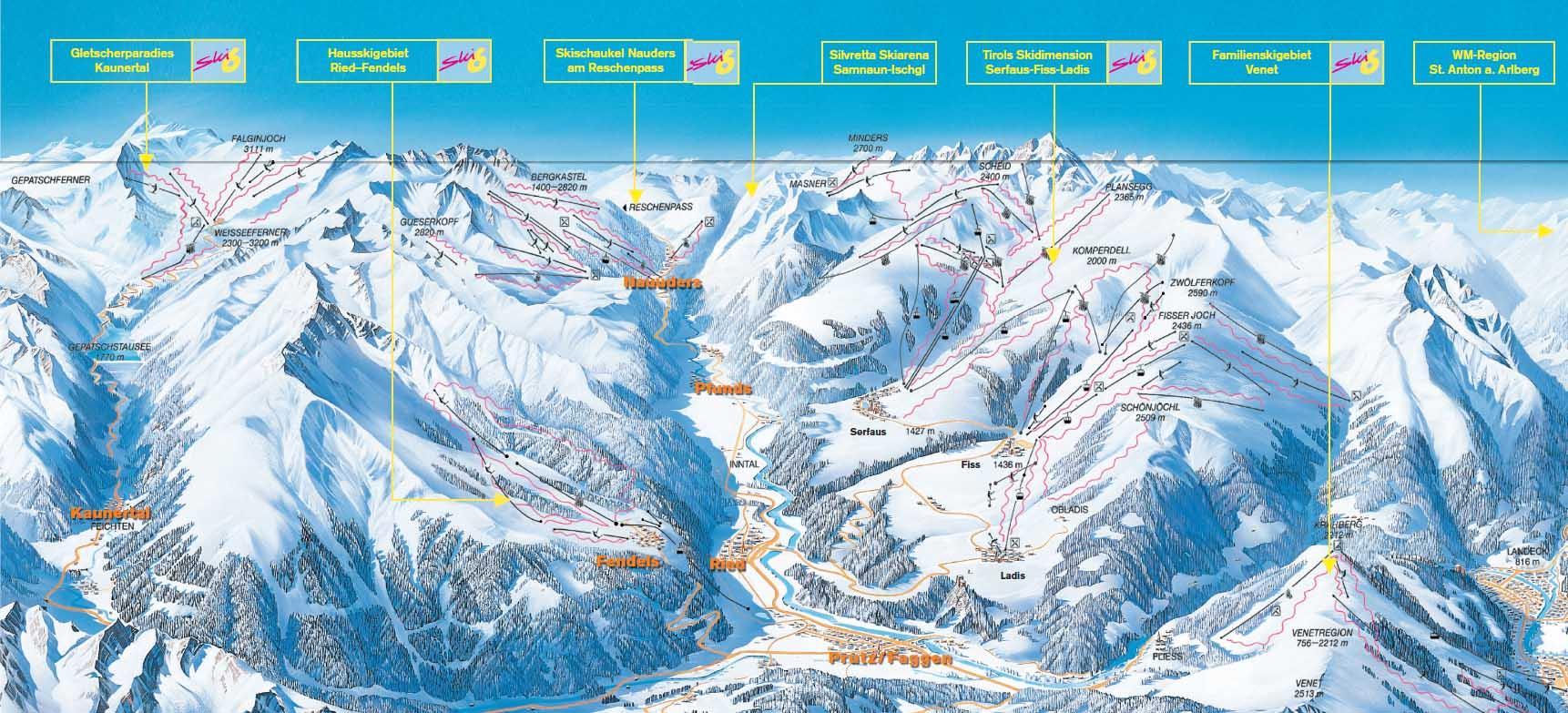 Австрия регион СКИ-6 схема трасс