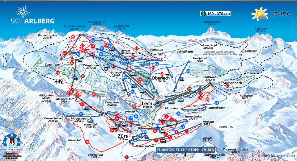 Карта - схема Лех / Цюрс (Lech / Zuers) Австрия