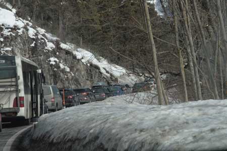 Дорога Австрия - Мюнхен, пробка перед перевалом Фернпасс