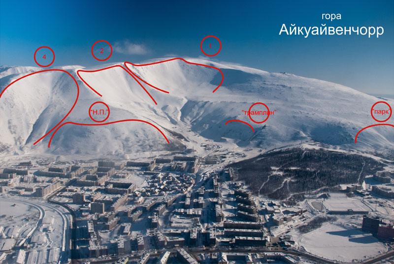 Кировск. Карты лавинных очагов -  Городской склон