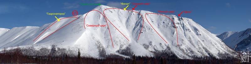 Кировск. Карты лавинных очагов -  25 км обратка