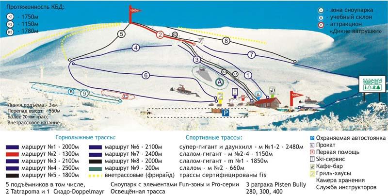 Кировск, схема трасс, БигВуд