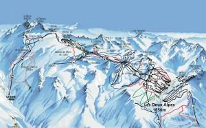 Ле дез Альп / Les Deux Alpes - Схема трасс