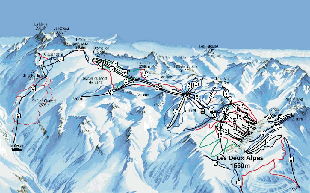 Deux Alpes - Схема трасс