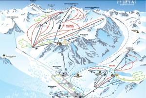 Ледник Питцталь и Риффельзее - Схема трасс