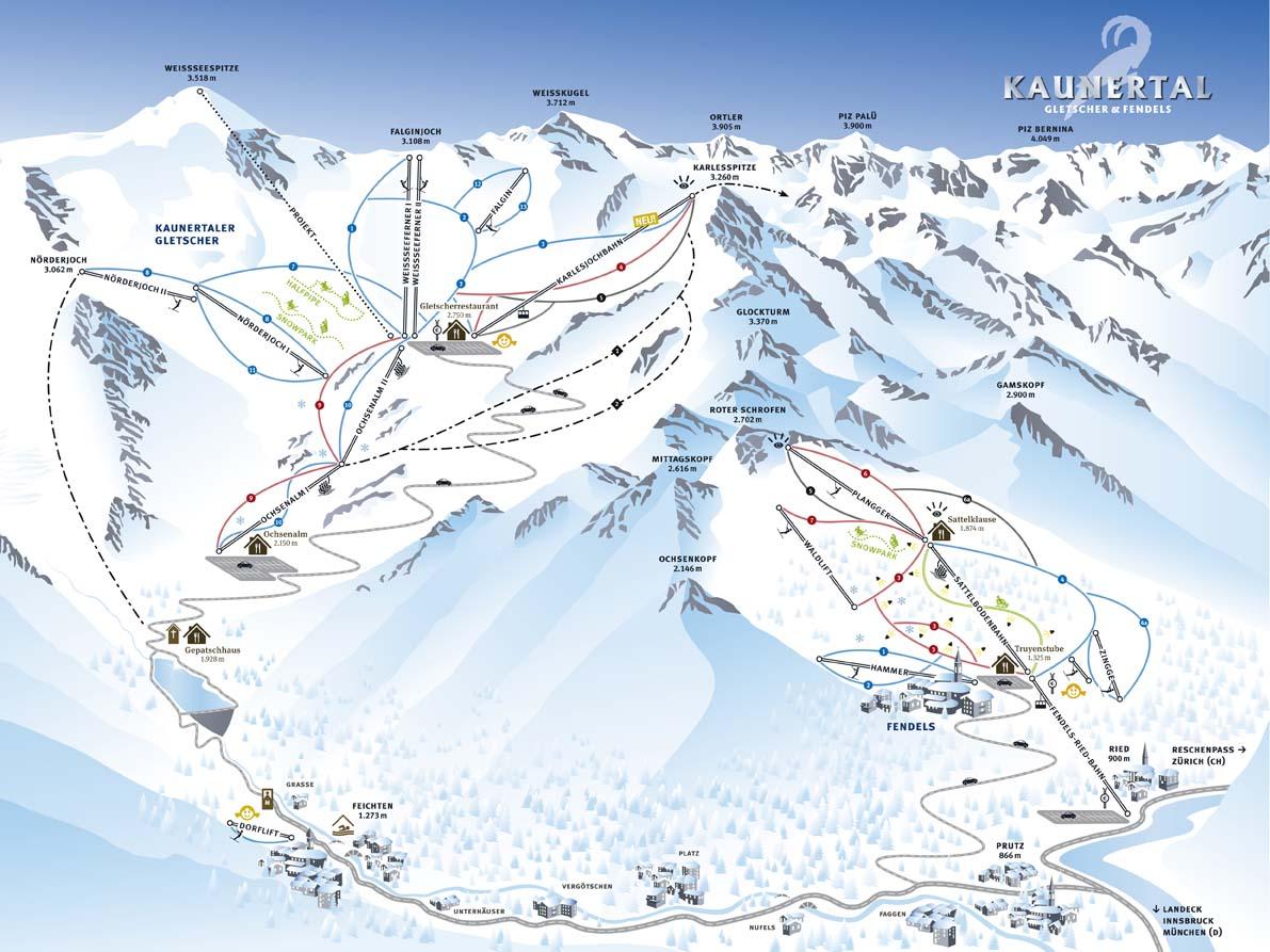Схема трасс горнолыжного курорта Фендельс