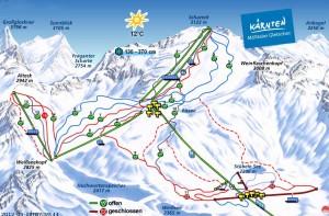 Схема трасс на леднике Мёлльталь
