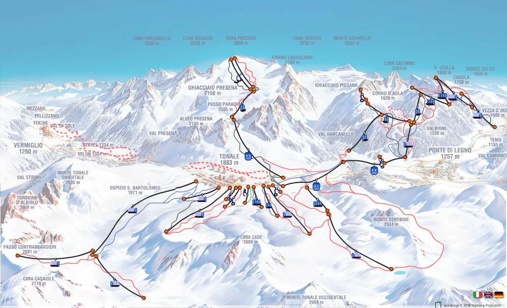Passo-Tonale - Схема трасс