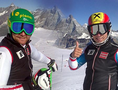 Клаус Крёлль и Марсель Хиршер радуются, тренировкам на снегу и прекрасной погоде в Церматте