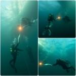 Олимпийский факел под водой.