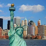 The Statue of Liberty and Lower Manhattan Skyline