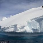 Первый человек прокатился на лыжах с айсберга
