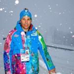 Ив Димьер, руководитель горнолыжной команды Франции на Олимпийских Играх сегодня утром в Роза Хутор.