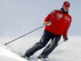 Михаэль Шумахер на горных лыжах.