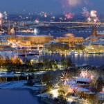 Рождественский фейерверк в Гетеборге, Швеция.