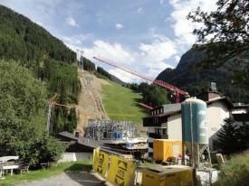 Текущее состояние строительства подъемника Pardatschgratbahn.