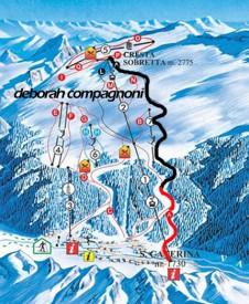 """Схема трассы скоростного спуска """"Deborah Compagnoni"""" на курорте Санта Катерина, Италия."""