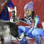 Тина Мазе выиграла в Леви слалом и оленя