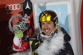 Марсель Хиршер одерживает победу в слаломе в Загребе. 6 января 2015.