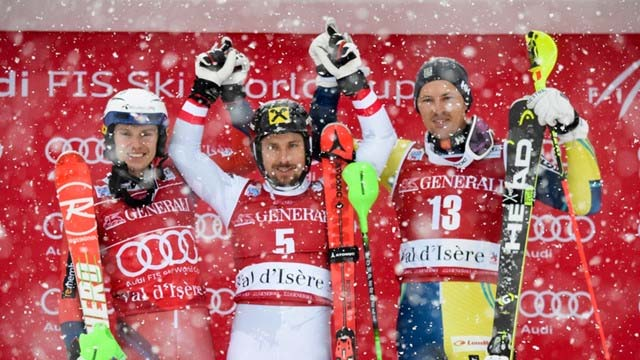Val dIsere 2017 men slalom podium