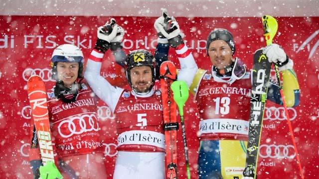 Val dIsere 2017 men slalom podium
