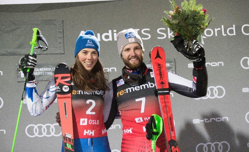 Петра Влхова и Марко Шварц - победители соревнований по параллельному слалому в Осло 1 янв 2019