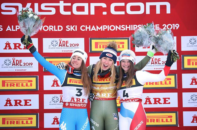 SKI WM 2019 IN AARE: SUPER-G DER DAMEN / GOGGIA (ITA) / SHIFFRIN  (USA) / SUTER (SUI)