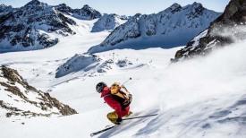 Катание на лыжах на леднике Питцталь (Тироль, Австрия).