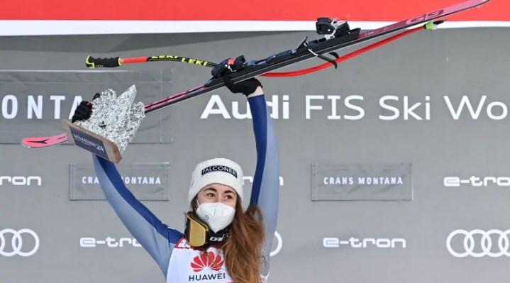 София Годжа из Италии выигрывает еще один этап Кубка мира, заняв первое место в соревнованиях по скоростному спуску среди женщин на этапе Кубка мира FIS по горнолыжному спорту в Кран-Монтане, Швейцария. (Фабрис Коффрини / AFP через Getty Images)