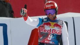 Беат Фойц после финиша в скоростном спуске в Китцбюэле 24 января 2021 г. Фото: Джовани Аулетта.