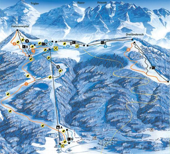 Схема трасс горнолыжного курорта Драйландерек