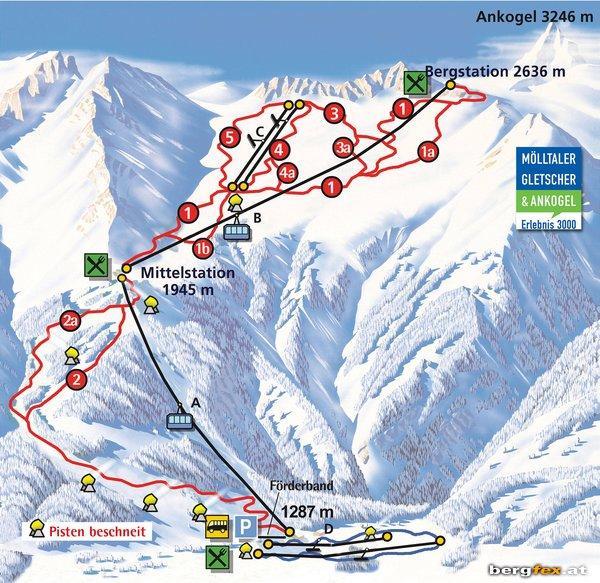 Схема трасс горнолыжного курорта Анкогель