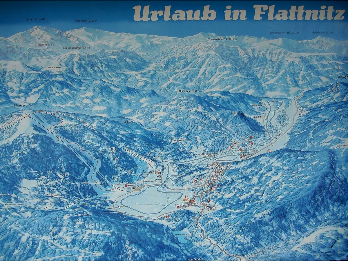 Схема трасс горнолыжного курорта Флаттниц