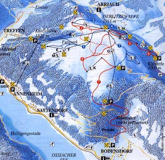 Схема трасс горнолыжного курорта Герлитцен