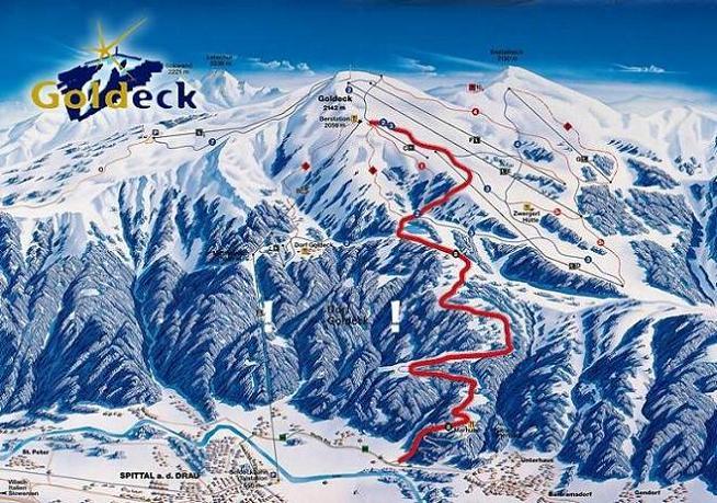 Схема трасс горнолыжного курорта Голдек-Бергбанен