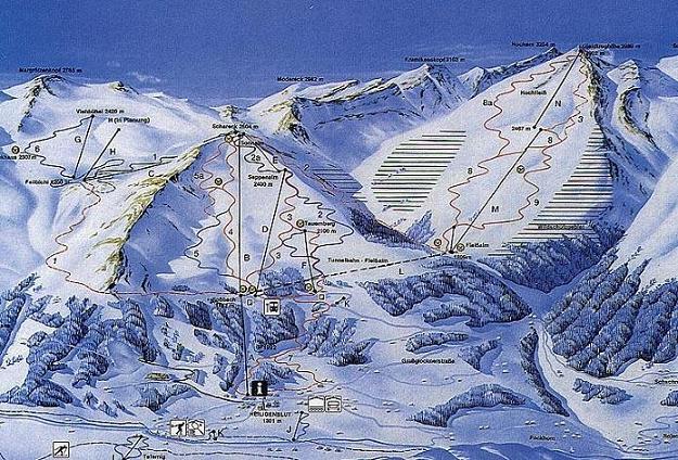 Схема трасс горнолыжного курорта Гроссглокнер-Хайлигенблут
