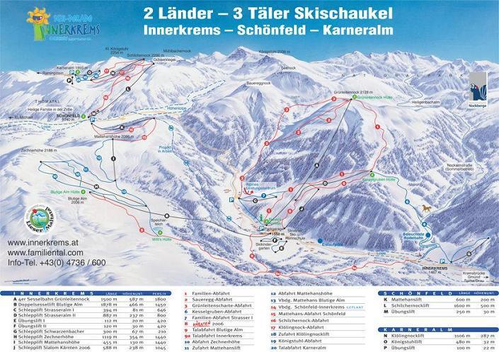 Схема трасс горнолыжного курорта Иннеркремсе
