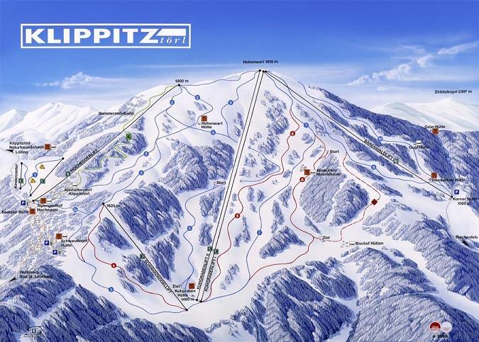 Схема трасс горнолыжного курорта Клипптцтоерл
