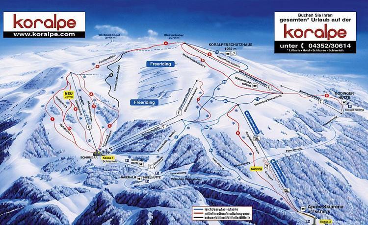 Схема трасс горнолыжного курорта Коральпе