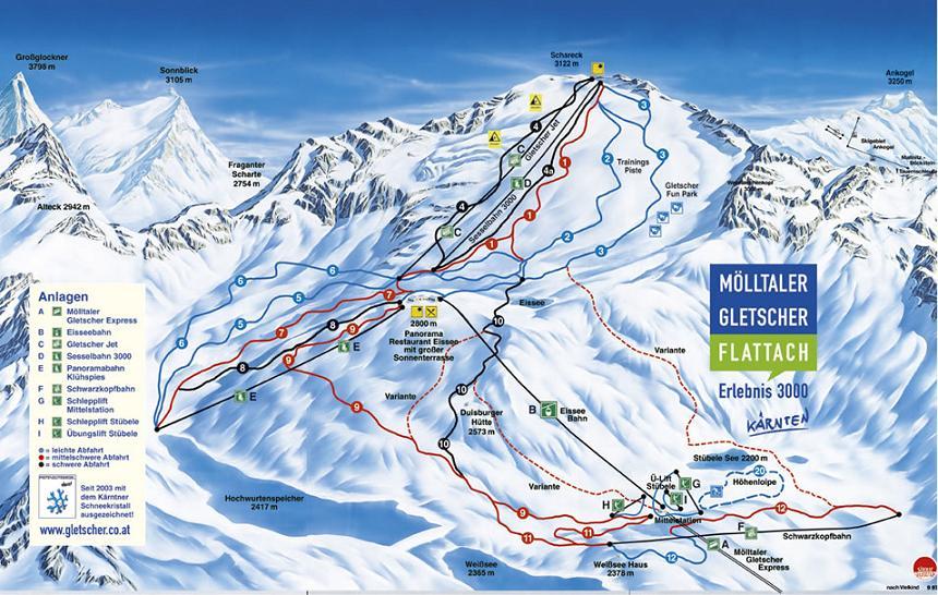 Схема трасс горнолыжного курорта Молььталь-Глетчер