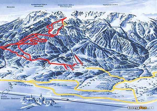 Схема трасс горнолыжного курорта Петцен