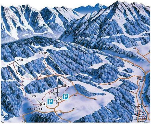 Схема трасс горнолыжного курорта Кенигсберг-Холленштайн-Ибсе