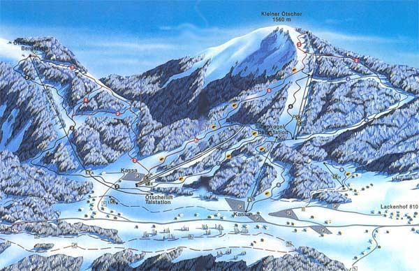 Схема трасс горнолыжного курорта Лакенхоф-Отшер