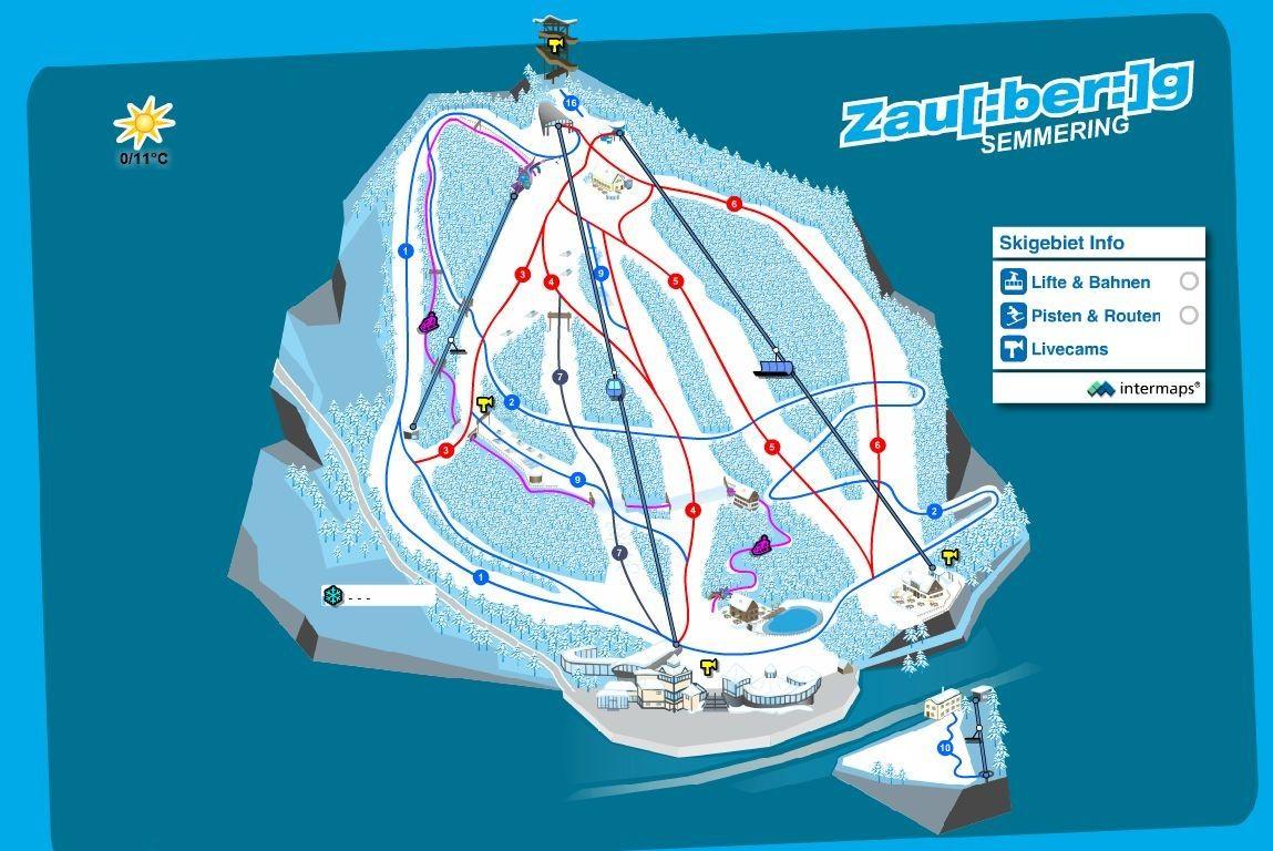 Схема трасс горнолыжного курорта Зауберг-Земмеринг