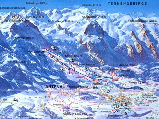 Схема трасс горнолыжного курорта Абтенау