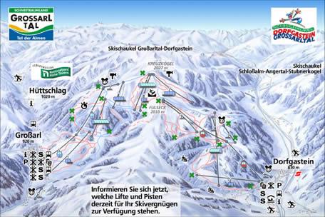 Схема трасс горнолыжного курорта Гроссарль-Дорфгаштайн
