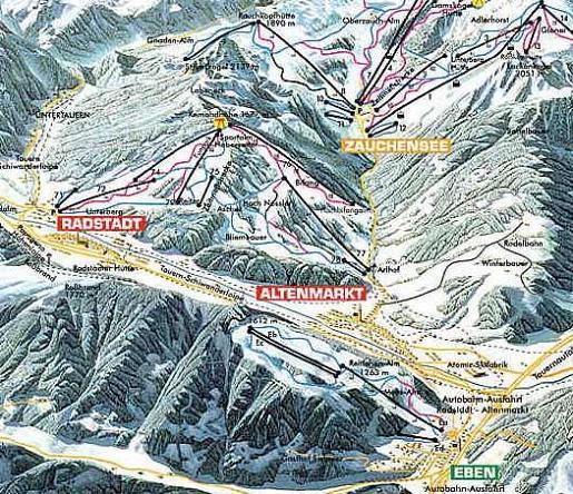 Схема трасс горнолыжного курорта Эбен