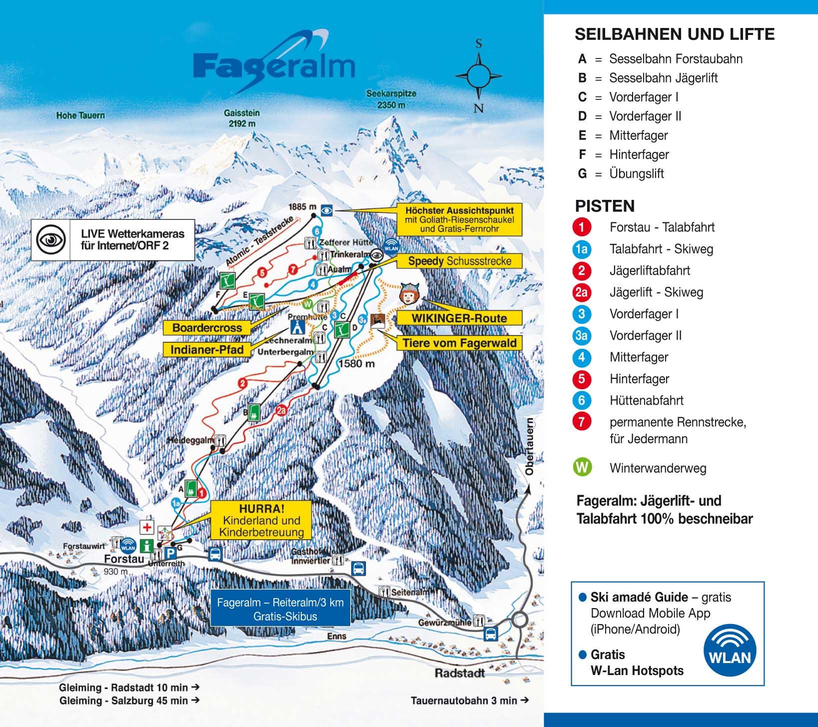 Схема трасс горнолыжного курорта Фагеральм-Форстау