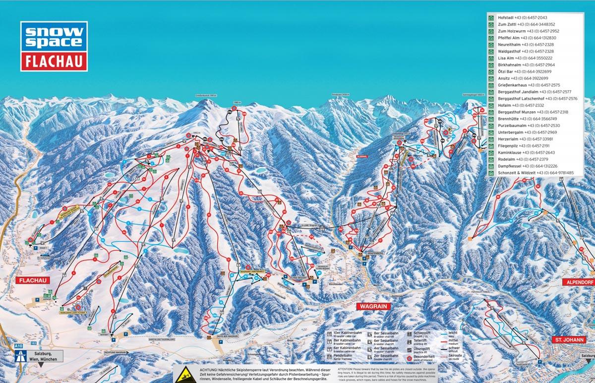 Схема трасс горнолыжного курорта Флахау